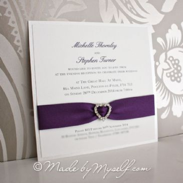 Ribbon Heart Wedding Invitation - Flat Card